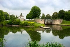 Reflecting pond below canal lock stock image