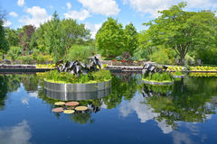 Reflecting pond. Montreal botanical garden reflecting pond Royalty Free Stock Photos