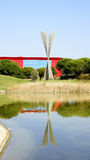 Reflecting Pond with sculpture Stock Photography