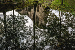 Reflecting Pond. Pond reflecting trees and old ruins.  Shot in Latvia Royalty Free Stock Image
