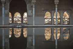 Reflecting pool in the Alhambra, Granada, Royalty Free Stock Photography