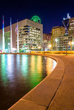 The reflecting pool at City Hall and buildings at night, in Dall Royalty Free Stock Photo