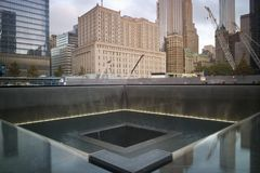 Reflecting pool at National September 11 Memorial stock photos