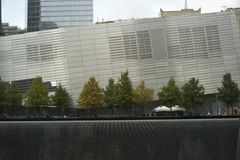 Reflecting pool at National September 11 Memorial stock image