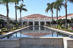 Reflecting Pool Nixon Library. YORBA LINDA, CALIFORNIA - FEBRUARY 24, 2017: Reflecting Pool at the Richard Nixon Library and Birthplace. The presidential library Royalty Free Stock Photography