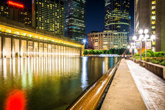 Reflecting pool and skyscrapers at night, seen at Christian Scie Royalty Free Stock Photo