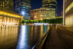 Reflecting pool and skyscrapers at night, seen at Christian Scie Stock Photos