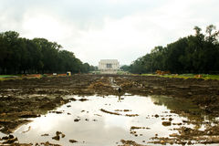Reflecting Pool Under Construction Stock Photo