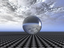 Reflecting sphere. On a surface of a chess field (reflection of cloudy weather Vector Illustration