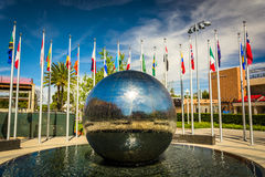 Reflecting sphere and flags at Chapman University  Stock Photo