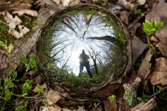 Reflecting sphere photographer selfie Royalty Free Stock Images