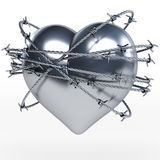Reflecting steel, metal heart surrounded by shiny barbwire. 3d rendering on white background stock photography