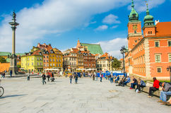 Reflecting surface of fountain and Warsaw, Poland. Houses in the Old Town of Warsaw, Poland Stock Photos