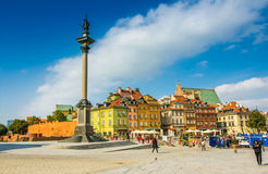 Reflecting surface of fountain and Warsaw, Poland. Houses in the Old Town of Warsaw, Poland Royalty Free Stock Photos