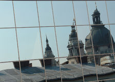 Reflection. Stephen' Basilica of Budapest in mirror Stock Photo