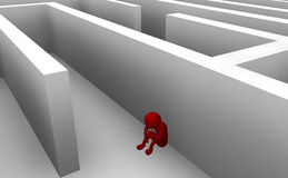 Reflection. Dead end in the maze to find new export before reflection Royalty Free Stock Image