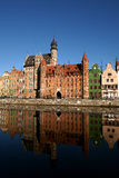 Reflection. Morning in Gdansk, quays of the Motlawa River with medieval port crane Stock Photography