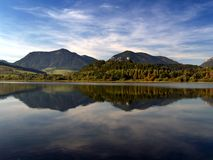 Reflection. Of mountains in deep lake royalty free stock image