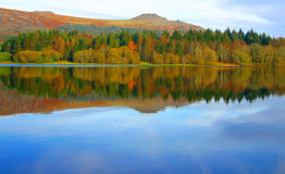 Reflection. Beautiful reflections of autumn colour at Burrator Reserviour stock photo