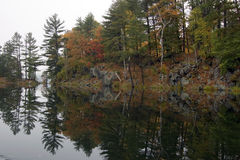 Reflection. Of colorful forest in lake surface in the overcast day Stock Image