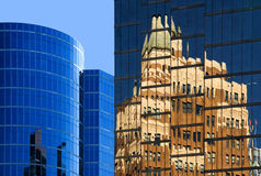 Reflection. Downtown of Vancouver. Office towers stock images