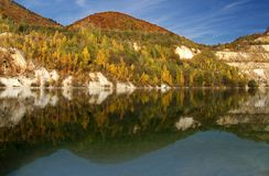 Reflection. Of hill in a deep lake royalty free stock photo