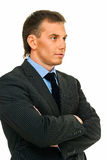 Reflection. Assured young businessman in reflection on white background Stock Photography