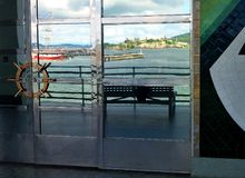 Reflection of Alcatraz Island in the window of the maritime museum, San Francisco. Royalty Free Stock Photography