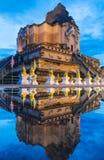Reflection Ancient pagoda at Wat Chedi Luang temple. Royalty Free Stock Image