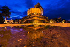 Reflection Ancient pagoda at Wat Chedi Luang temple in Chiangmai Stock Photo