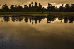 Reflection of Angkor Wat at Sunrise Royalty Free Stock Images