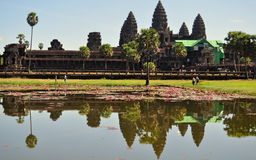 Reflection of Angkor Wat Temple, Cambodia. Angkor Wat is the largest Hindu temple complex and the largest religious monument in the world. The temple was built Stock Images