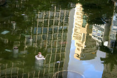 Reflection of Architecture in Sao Paulo. Reflection of Buildings in a Fountain in Downtown Sao Paulo, Brazil, South america Stock Image