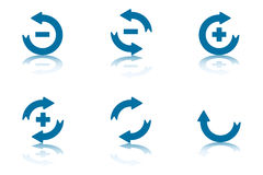 Reflection Arrows Collection 2. Collection of Blue Arrows With Reflections on Bottom Plane Royalty Free Stock Images