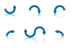 Reflection Arrows Collection 3. Collection of Blue Arrows With Reflections on Bottom Plane Stock Photography