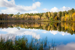 Reflection of autumn colored trees in the lake Stock Photo