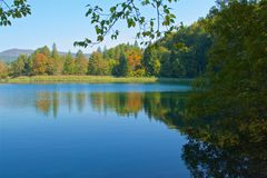 Reflection of the autumn foliage on the lake in Plitvice Lakes National Park, Croatia Stock Image
