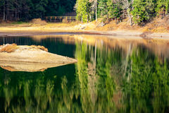 Reflection of autumn forest in mountain lake Stock Photos