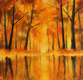 Reflection of autumn trees in water. Painting. Royalty Free Stock Images