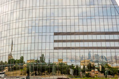 Reflection of Baku in the Flame towers Stock Image