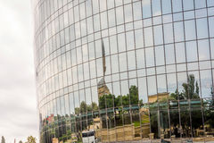 Reflection of Baku in the Flame towers Royalty Free Stock Photos