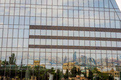 Reflection of Baku in the Flame towers Royalty Free Stock Photography