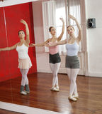 Reflection Of Ballerinas Dancing In Studio Royalty Free Stock Photo