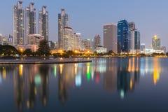 Reflection Bangkok city building lights Royalty Free Stock Images