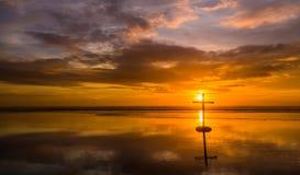 Reflection Beach Cross Stock Photos