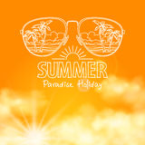Reflection of the beach in sunglasses sunny orange Royalty Free Stock Photos