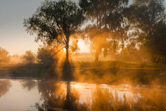 Reflection of a beautiful dawn sky in a river Stock Image