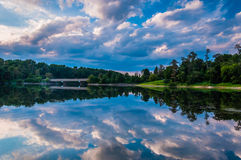 Reflection of beautiful evening clouds in Lake Marburg, Codorus Stock Image