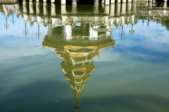 Reflection of Beautiful pagoda. On the water surface Royalty Free Stock Images