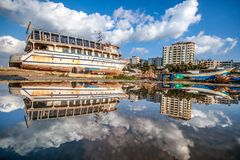 Reflection of a beautiful view of the city of Gaza stock image